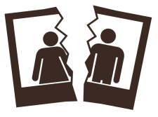 clip art of a photograph torn in two with a man and a woman on either side