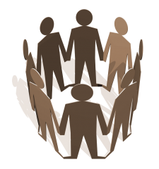 illustration of a group of generic cutout people standing in a circle and holding hands in support of one another