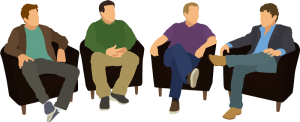 illustration of four men sitting together during a group therapy session
