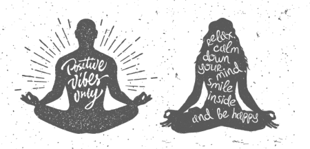 illustration of a man and a woman sitting crossed legged meditating with positive words about holistic treatment programs