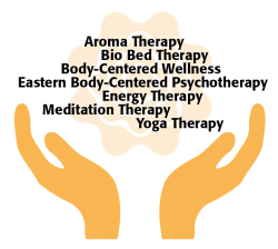 illustration of two hands opened and upright with a list of several different holistic therapies shown above them