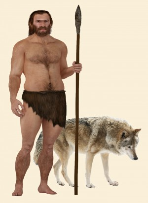 illustration of a caveman holding a spear standiung next to a wolf