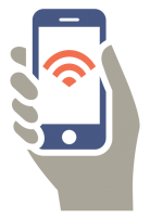 clip art image of a hand holding a smart phone connected to the internet