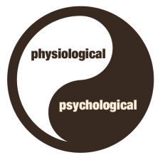 drawing of a yinyang symbol with the words physiological on the inside of one half and psychological on the other half