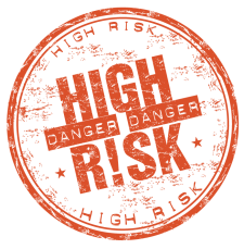 illustration of a red circle with bold print of the words danger high risk