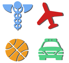 color icons with commonly associated symbols to represent the different job fields for medical, first responders, sports, and aviation