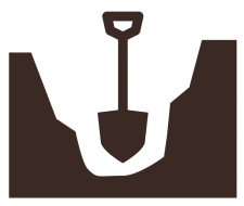 clip art image of a shovel digging a hole in the ground