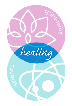 illustration of one circle labelled spirituality and another circle labelled science and where they overlap is labelled healing