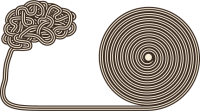 illustration of a long rolled up texture that ends in a shape of a human brain