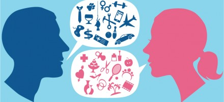 illustration of the heads of a man and a woman and word bubbles coming out of their mouths showing completely different icons for their own interests