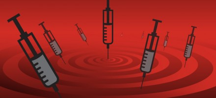 illustration of several heroin needles floating over a sea of read